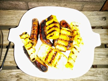 grilled brats and pineapple